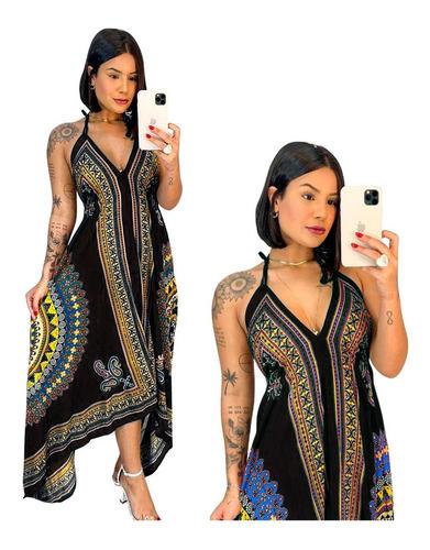 Vestido Indiano Longo Pontas 100% Viscose Valoriza Plus Size