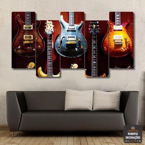 Quadros Decorativo Guitarra Do Rock Top Mosaico 5 Peças