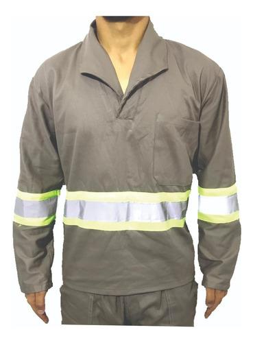 Camisa Brim Manga Longa Com Refletivo Uniforme Cinza