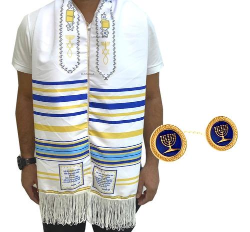 Talit Messiânico Azul Modelo Nacional+ Prendedor Menorá Azul