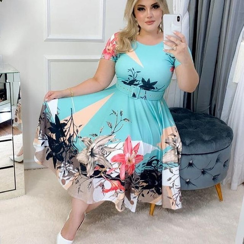 Vestido Feminino Moda Evangélica Midi Boneca Rodado Barato