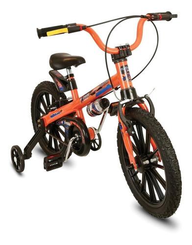 Bicicleta  Infantil Nathor Extreme Aro 16 Freios V-brakes Cor Laranja Com Rodas De Treinamento
