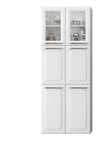 Paneleiro Duplo Max C/vidro Luce 6 Portas Ipldv-70 Branco