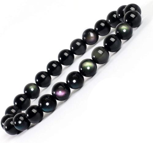 Serirtire 8mm Gemstone Beaded Bracelet Round Beads Stretch B