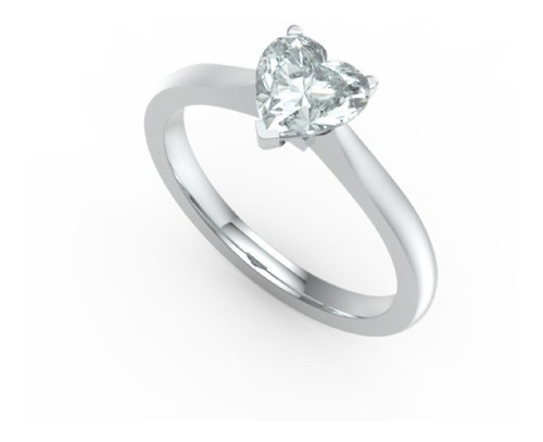 Anillo Con Diamante Cultivado Corazon De 50 Pts.