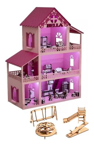 Casinha De Boneca Rosa Pink +36 Móveis +parquinho+ Nome +led
