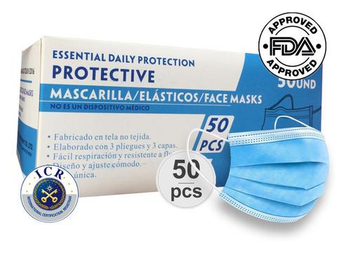 Mascarilla Desechable Certificada / Caja 50 Unidades