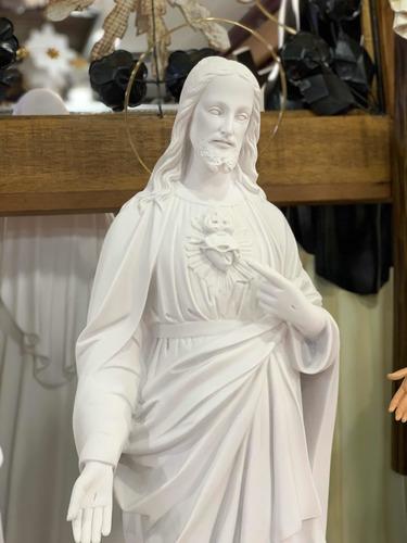 Imagem Sagrado Coração De Jesus 85cm - Pó De Mármore