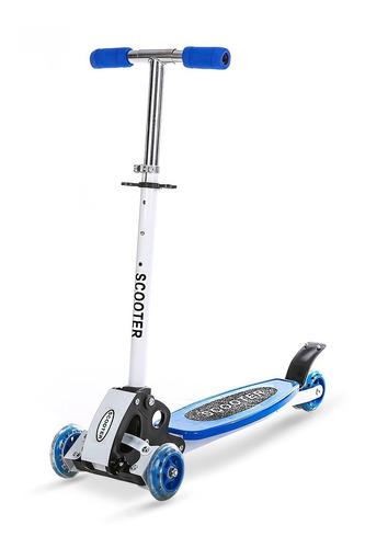 Patinete 3 Rodas Com Base Scooter Roda Flexivel Azul