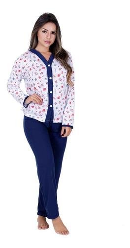 Pijama Longo De Frio Aberto De Botão Amamentação Idoso Pós Cirurgia  Pós Parto