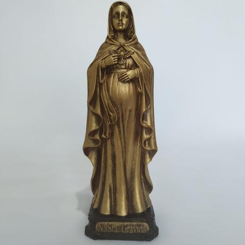 Imagem Nossa Senhora Grávida. 15cm. Cor Dourado. Resina