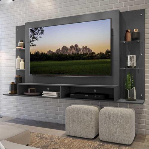 Painel Tv 60 C/ Prateleira Vidro Nairóbi Multimóveis Grafite