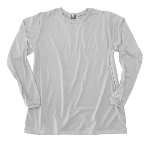 Camiseta Plus Size Alongada Gg Ao G8 Manga Longa Sem Estampa