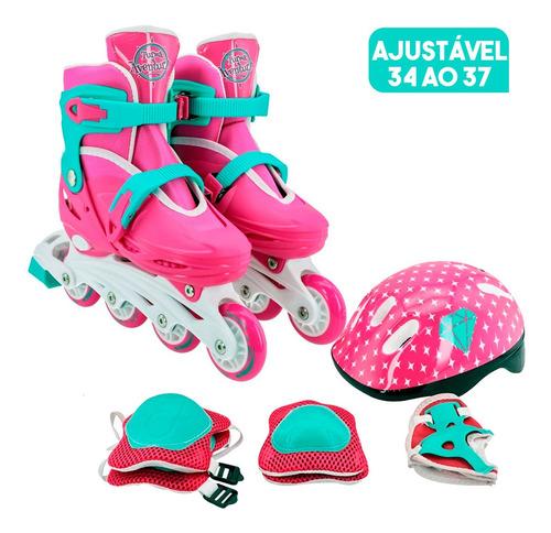Patins Infantil Ajustável Masculino Feminino + Kit Proteção