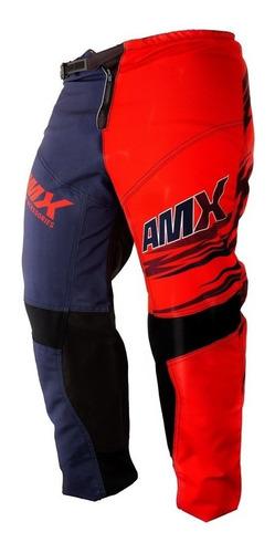 Calça Amx Classic Fast Vermelho Azul Motocross Reforçada