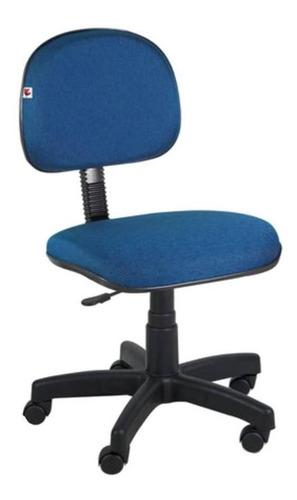 Cadeira De Escritório Shop Cadeiras Secretária Giratória Tecido  Azul E Preta Com Estofado Do Polipropileno
