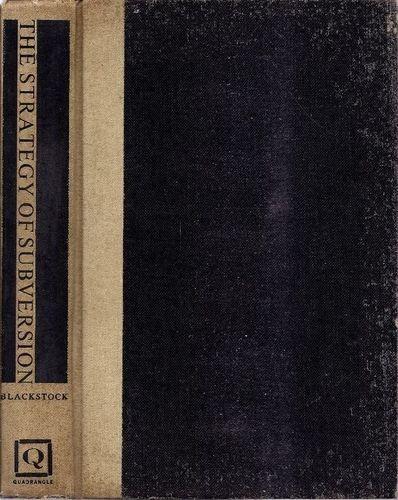 Livro The Strategy Of Subversion Paul W. Blackstock
