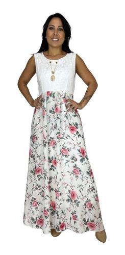 Vestido Feminino Florido Voal Renda Longo Moda Evangelica