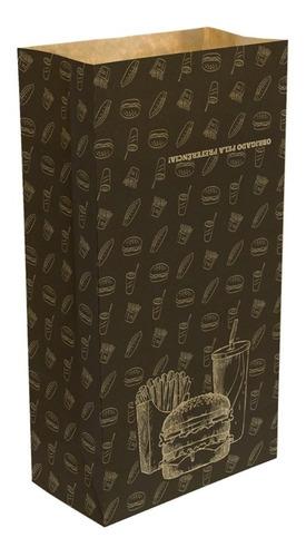 Saco Embalagem Kraft  Médio P/ Delivery Hambúrguer 100und