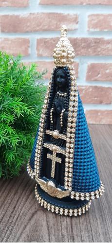 Imagem N Srª Aparecida Azul Com Strass 15cm Santa Decorativa
