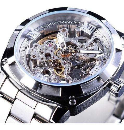 Relógio Automático De Esqueleto Mecânico Parahombre