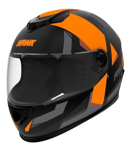 Casco Para Moto Integral Hawk Rs1 Naranja Fluo Talle L
