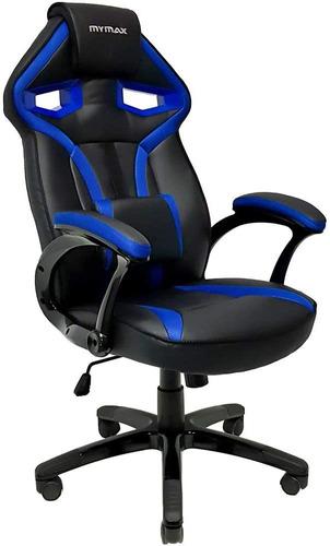 Cadeira Escritório Mymax Game Mx1 Preta Azul Couro Sintético