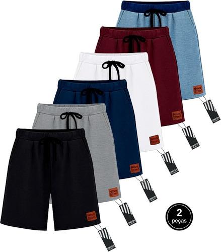 Kit 2 Bermudas Moletom Masculina Novastreet Shorts Premium