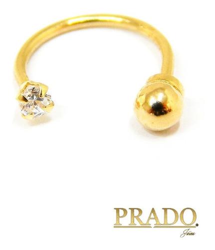 Piercing Ferradura Hélix Cartilagem Ouro 18k Zircônia + Nota