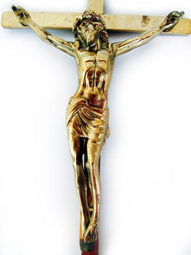 Crucifixo De Parede Em Bronze Jesus Cristo Decoração 50 Cm