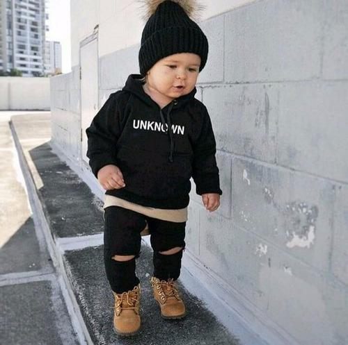 Calça Jeans Infantil Destroyed Preta Rasgada 2 Meses Á 8 Ano