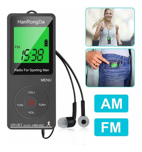 Mini Radio Fm Am Digital Portátil Recargable Com Pedômetro