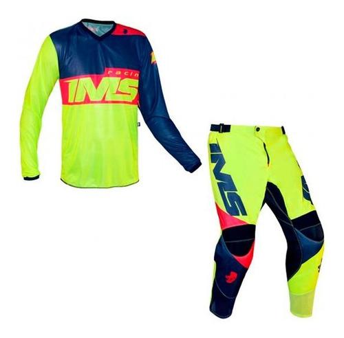 Conjunto Roupa Ims Infantil Army 2021 Fluor Motocross Kit