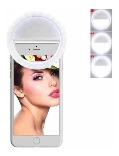Aro De Luz Led Redondo Para Selfie Celular Recargable Blanco
