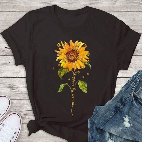 Camiseta Feminina Manga Curta O neck Girassol Impresso Tops