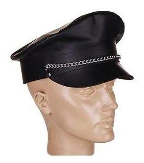 Bo 010 . Quepe Estilo Police.  Couro Legítimo Original