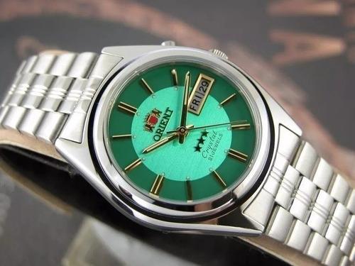 Relógio Orient Masculino Automático  Fundo Verde C/2 Chaves