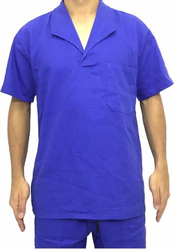 Camisa Jaleco Brim Manga Curta Uniforme Azul Royal