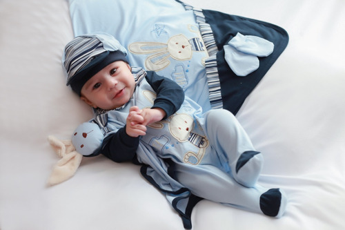 Saida Maternidade Coelho Menino Azul Bebe