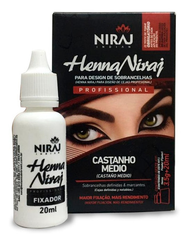 Sobrancelha Profissional Henna Niraj +fixador Castanho Médio