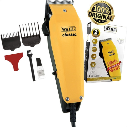 Máquina De Cortar Cabelo Wahl Classic Amarela Profissional