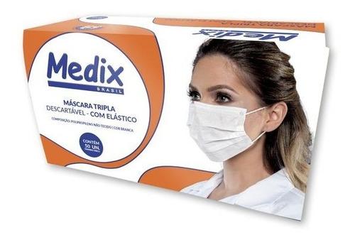 Máscara Medix Com Elástico E Clip Nasal  50 Unidades