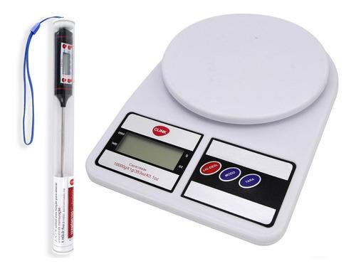 Balança Digital Cozinha Até 10 Kg + Termômetro Culinário Nfe