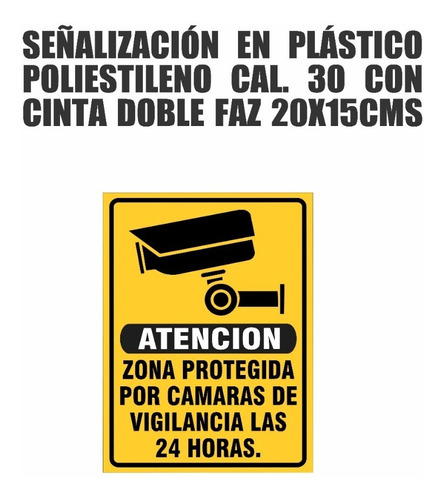 Señalización Avisos Letrero Plástico Camara De Vigilancia