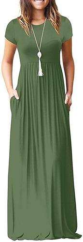 Mulheres Liso Vestidos Maxi Casuais Longos