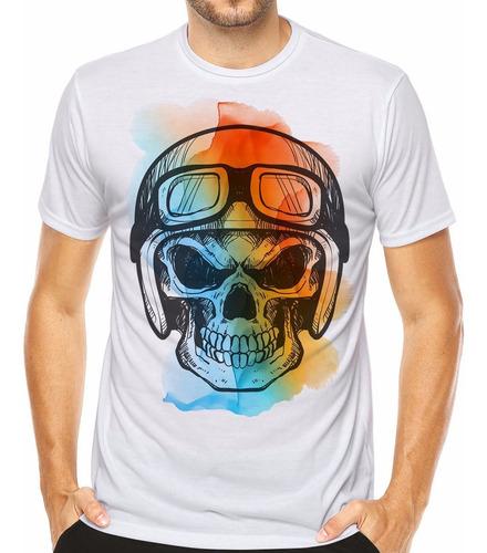 Camiseta Caveira Skull Moto Capacete Camisa Motorbiker Moda