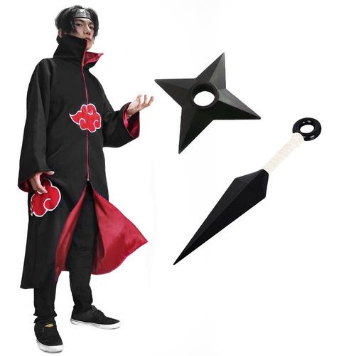 Kit Capa Akatsuki + Kunai Shuriken - Naruto Itachi