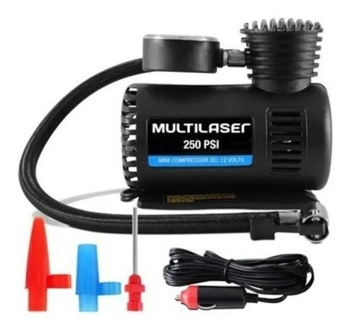 Compressor De Ar Mini 12v Automotivo 250psi Pneu Multilaser