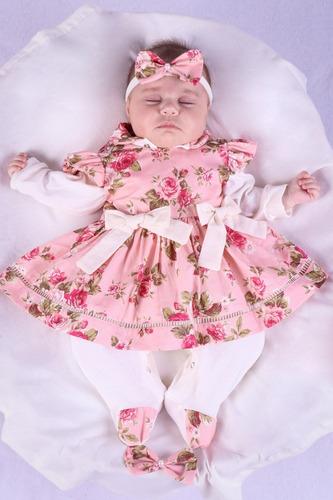 Saida De Maternidade Menina Rose Beatriz Azul Floral 04 Peça