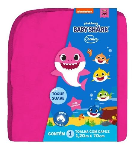 Toalha De Banho Com Capuz 100% Algodão Baby Shark - Cremer